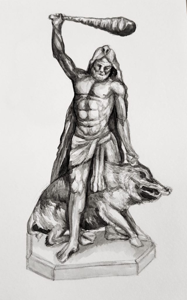 Hercules fighting a boar, based on a sculpture found at Munich Residenz, Germany - Watercolour in Moleskine sketchbook