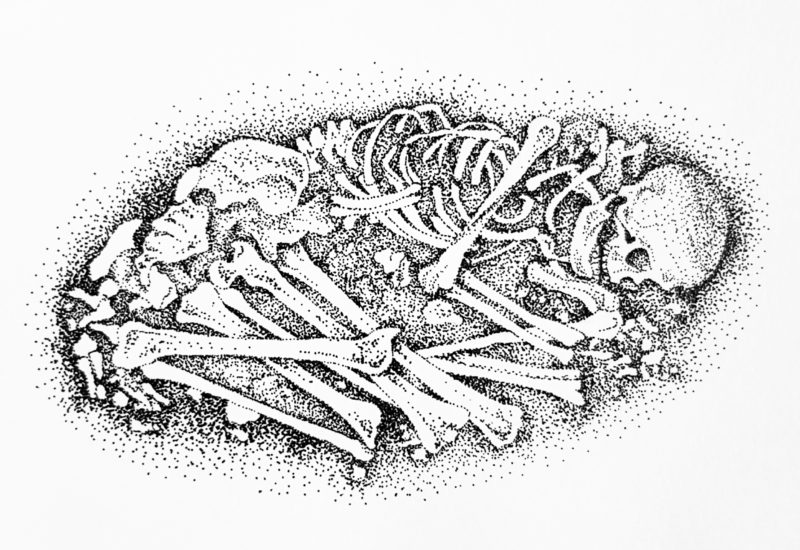 A small dotwork drawing from an excavation in the Rynek Underground Museum, Krakow, Poland - Ink pen on paper