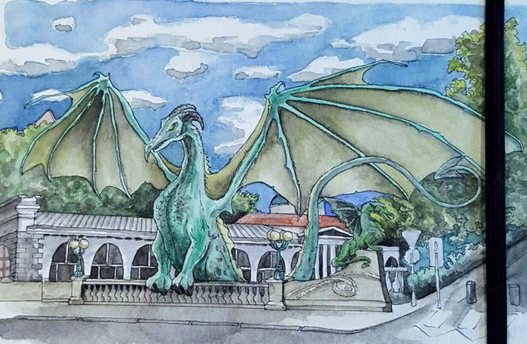 Inspired by the Dragon Bridge in Ljubljana, Slovenia - Ink pen and watercolour in Moleskine sketchbook