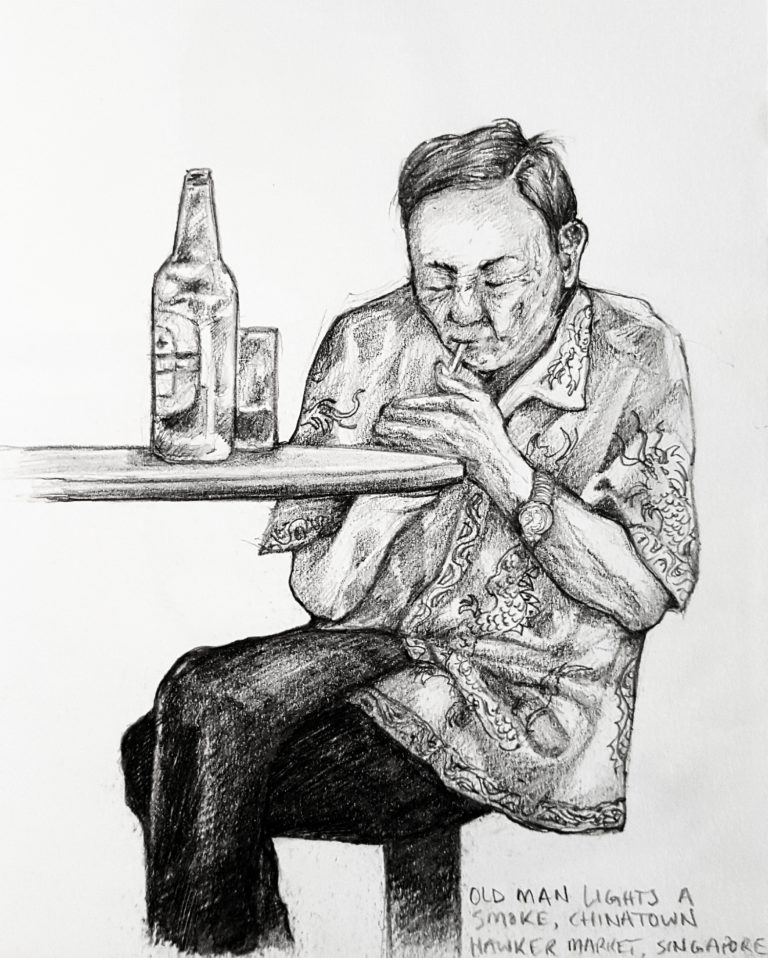Life drawing of a man seen at Chinatown Hawker Markets, Singapore - Graphite pencil in sketchbook