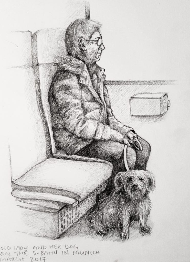 Life drawing of woman on a train with her dog in Munich, Germany - Graphite pencil in sketchbook