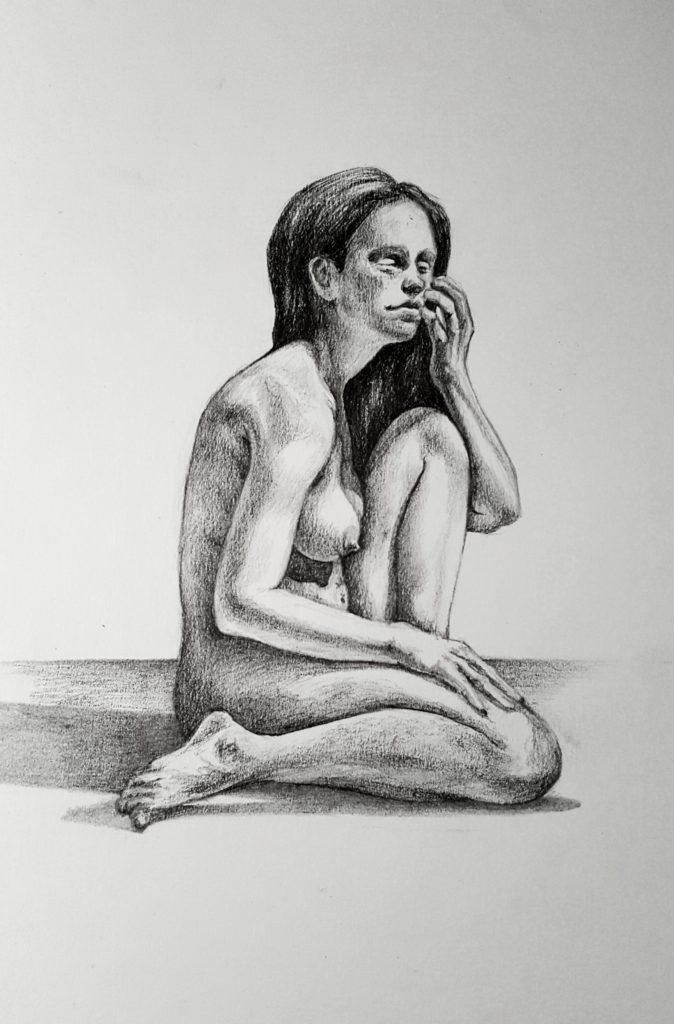 Female figure study - Graphite pencil on paper