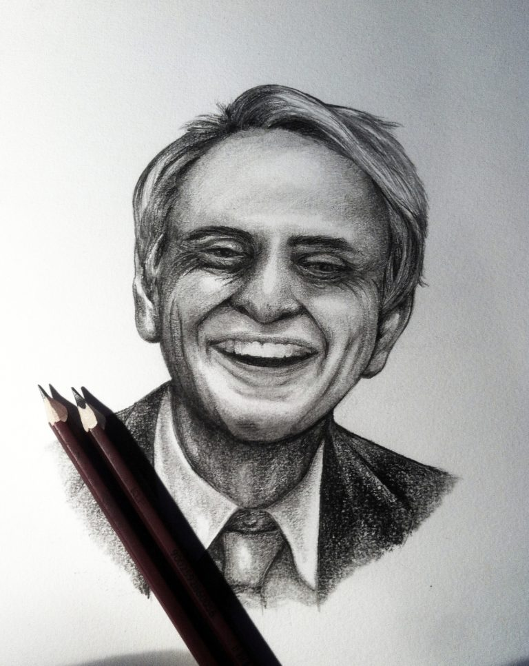 Portrait of Astronomer Carl Sagan - Graphite pencil on paper