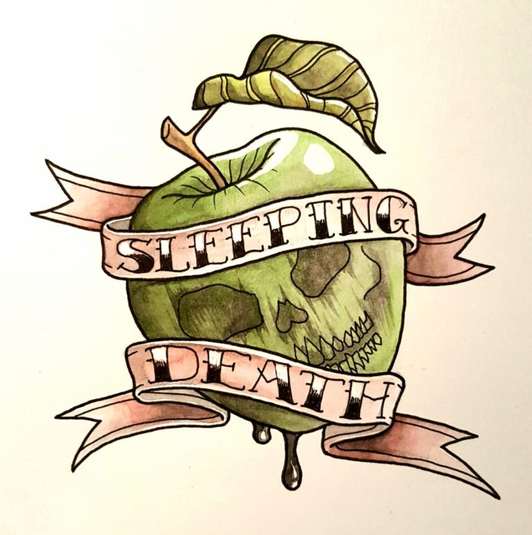 Tattoo flash based on Sleeping Beauty's poison apple - Ink pen and watercolour on watercolour paper