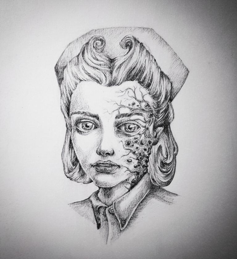 Plague Nurse - Graphite pencil on paper
