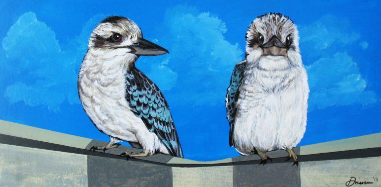 Two Australian Kookaburra - Acrylic paint on wood board