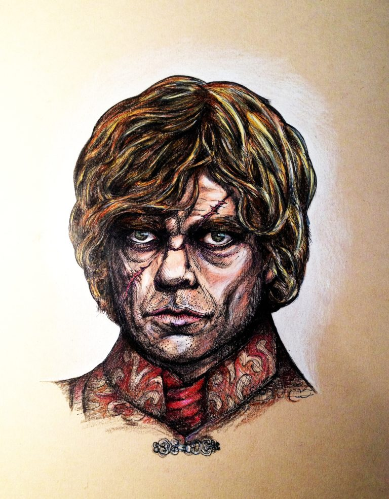 Portrait of character Tyrion Lannister - Ink pen and coloured pencils on tinted paper