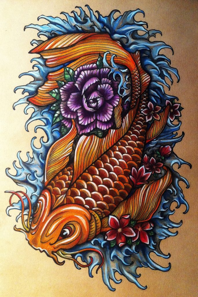 Experimenting with a Japanese style Koi fish design - Ink pen, watercolour pencils, acrylic paint on brown tinted paper