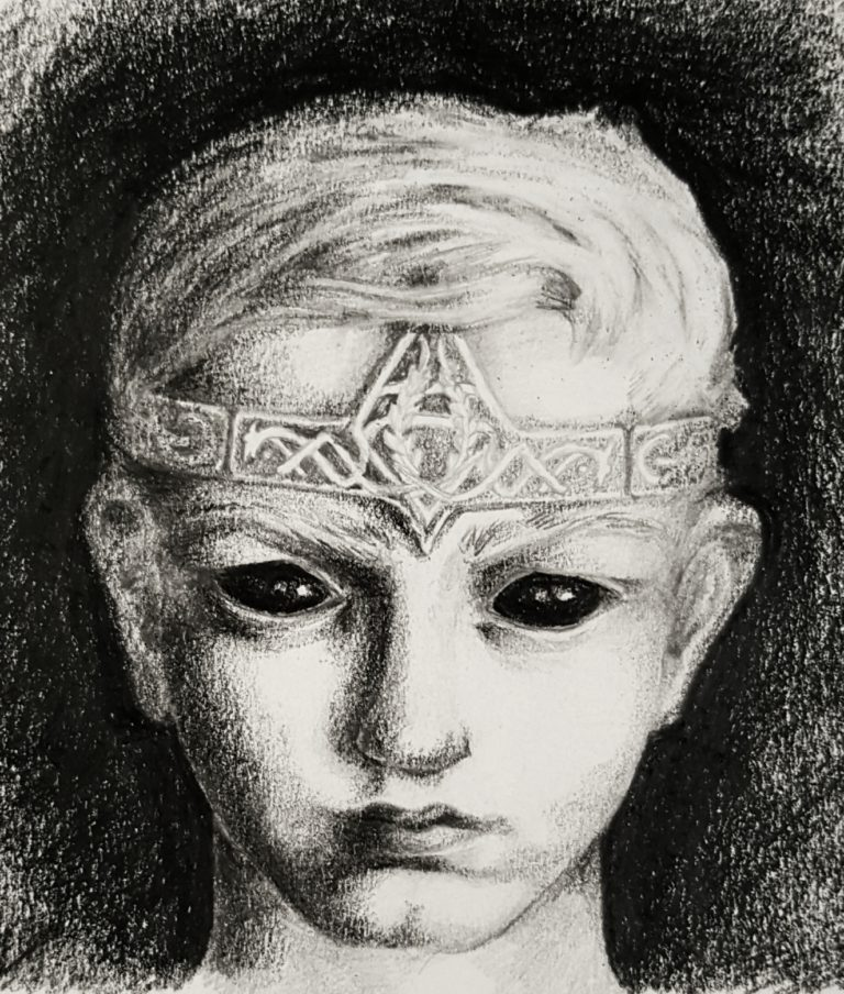 Shadow Prince, child face study - Graphite pencil and black coloured pencil on paper