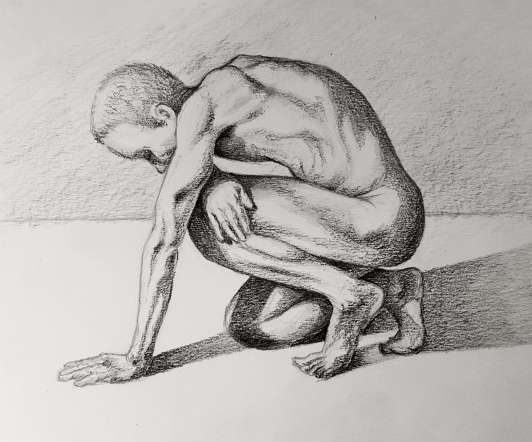 Male figure study - Graphite pencil on paper
