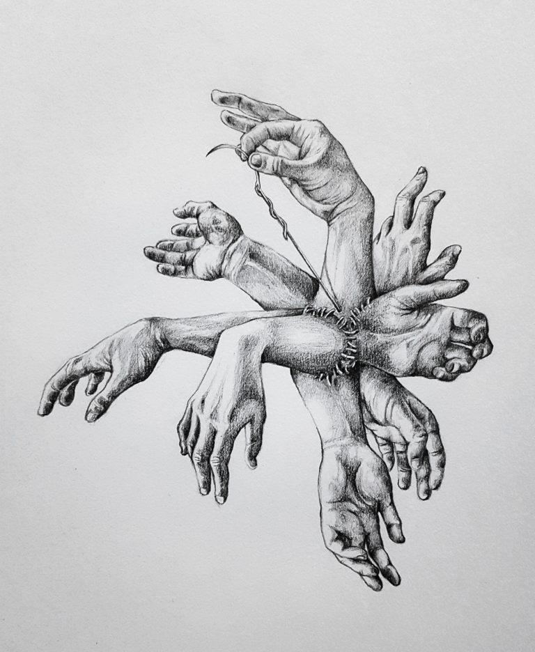 Stitched Together - Graphite pencil on paper