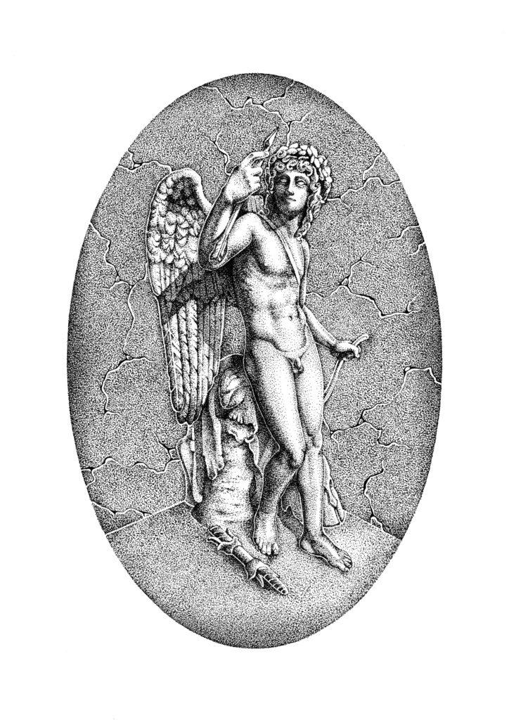 """Cupid"" - Entirely dotwork using ink pen on bristol card. Based on a sculpture by Bertel Thorvaldsen found in Copenhagen."