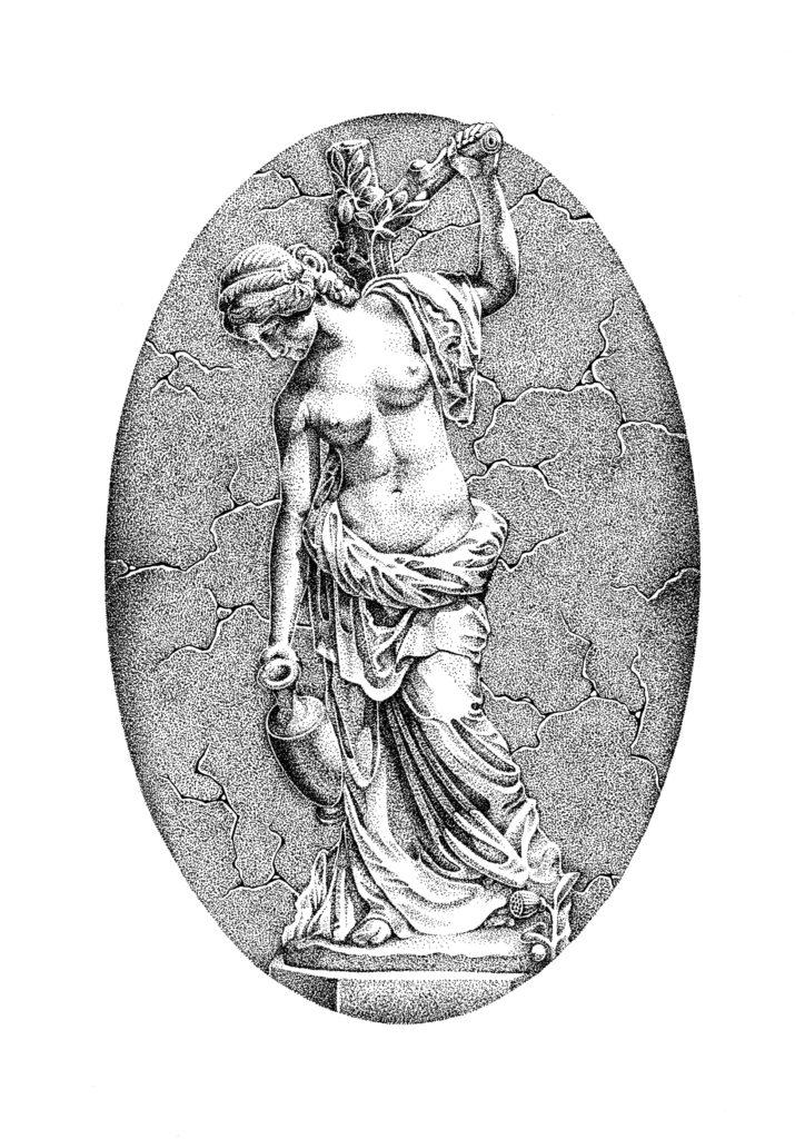 Sculpture found in Sanssouci Garden in Potsdam, Germany. Entirely dotwork using ink pen on bristol card